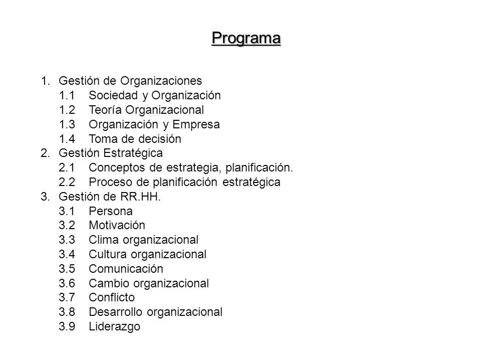 Programa 1.Gestión de Organizaciones 1.1Sociedad y Organización 1.2Teoría Organizacional 1.3Organización y Empresa 1.4Toma de decisión 2.Gestión Estra