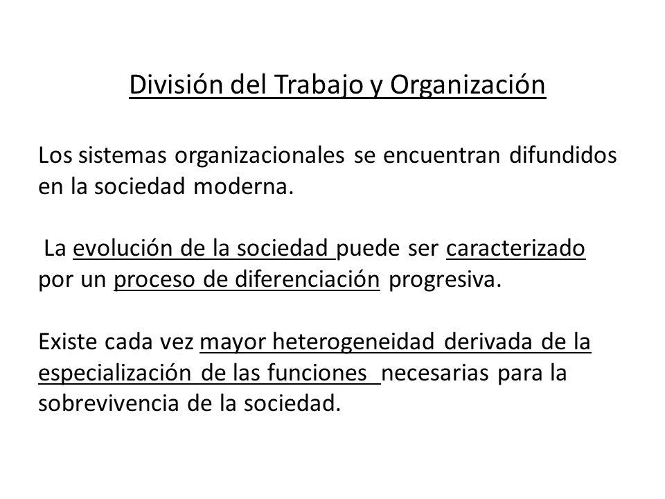 División del Trabajo y Organización Los sistemas organizacionales se encuentran difundidos en la sociedad moderna. La evolución de la sociedad puede s