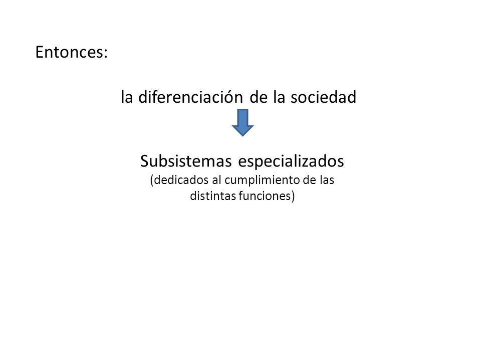 Entonces: la diferenciación de la sociedad Subsistemas especializados (dedicados al cumplimiento de las distintas funciones)