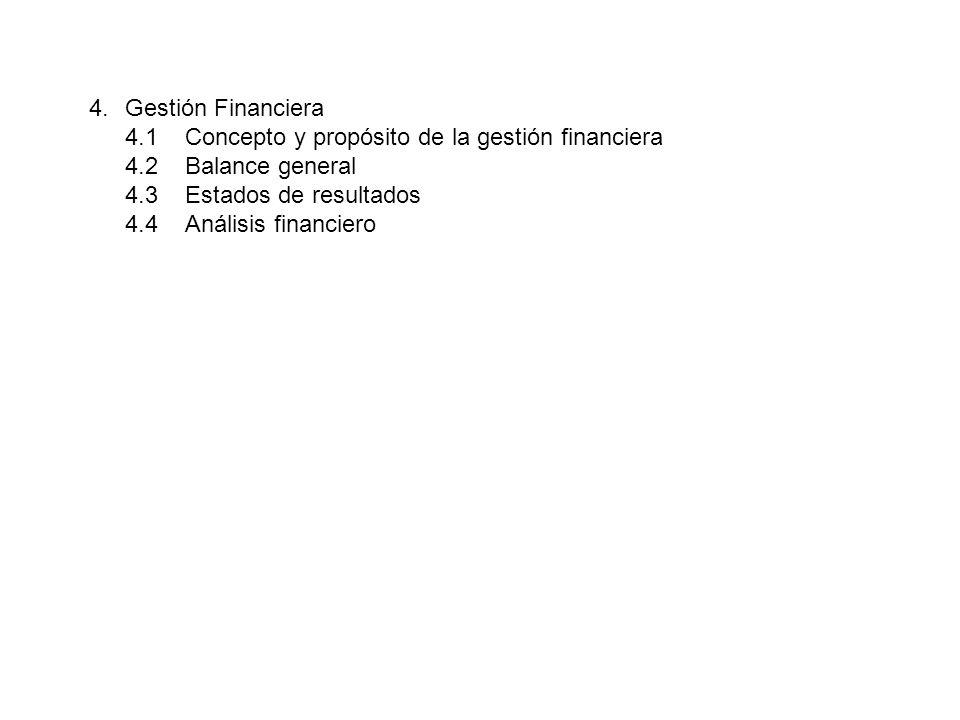 4.Gestión Financiera 4.1Concepto y propósito de la gestión financiera 4.2Balance general 4.3Estados de resultados 4.4Análisis financiero