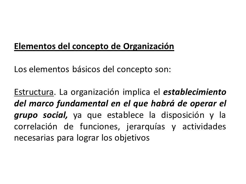 Elementos del concepto de Organización Los elementos básicos del concepto son: Estructura. La organización implica el establecimiento del marco fundam