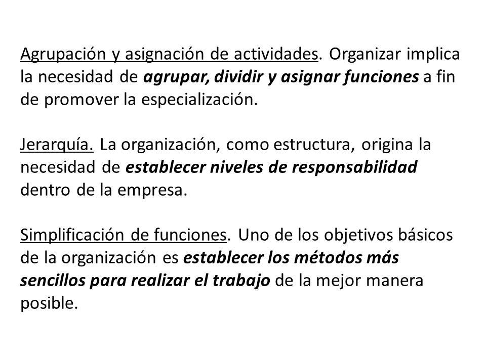 Agrupación y asignación de actividades. Organizar implica la necesidad de agrupar, dividir y asignar funciones a fin de promover la especialización. J