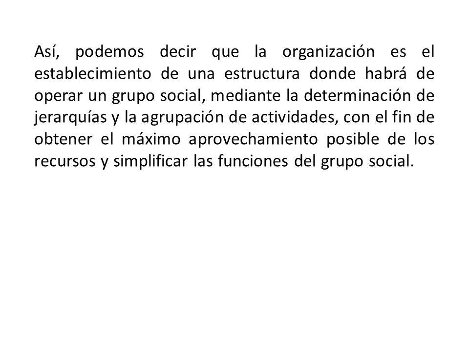Así, podemos decir que la organización es el establecimiento de una estructura donde habrá de operar un grupo social, mediante la determinación de jer