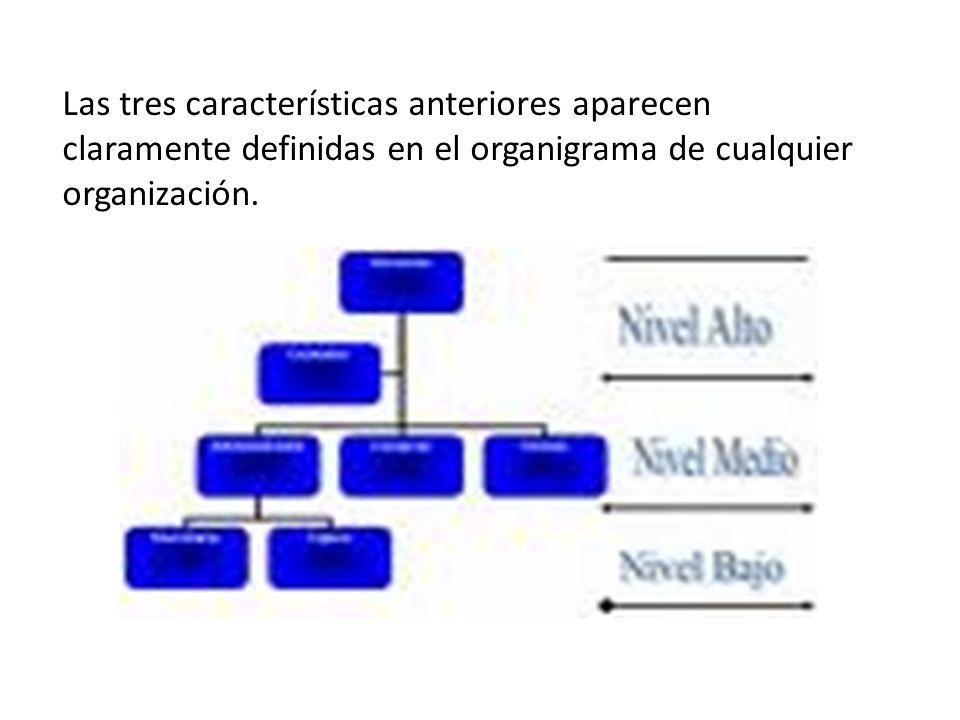 Las tres características anteriores aparecen claramente definidas en el organigrama de cualquier organización.