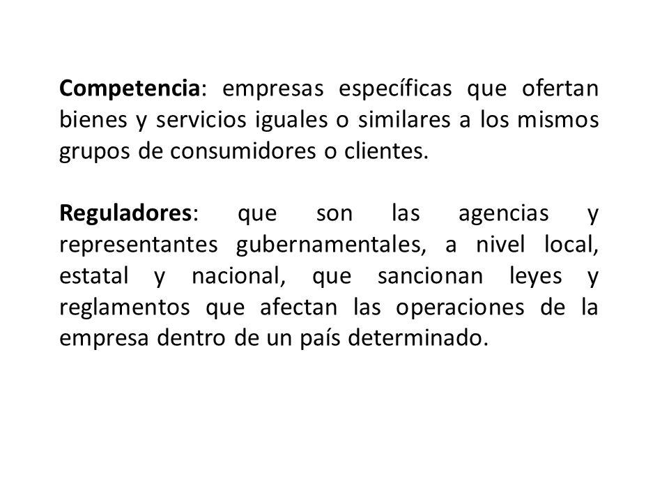 Competencia: empresas específicas que ofertan bienes y servicios iguales o similares a los mismos grupos de consumidores o clientes. Reguladores: que