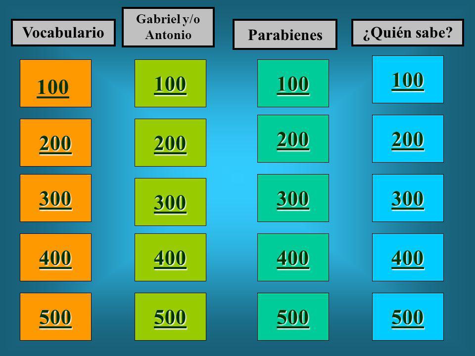 100 200 400 300 400 Vocabulario Gabriel y/o Antonio Parabienes ¿Quién sabe.