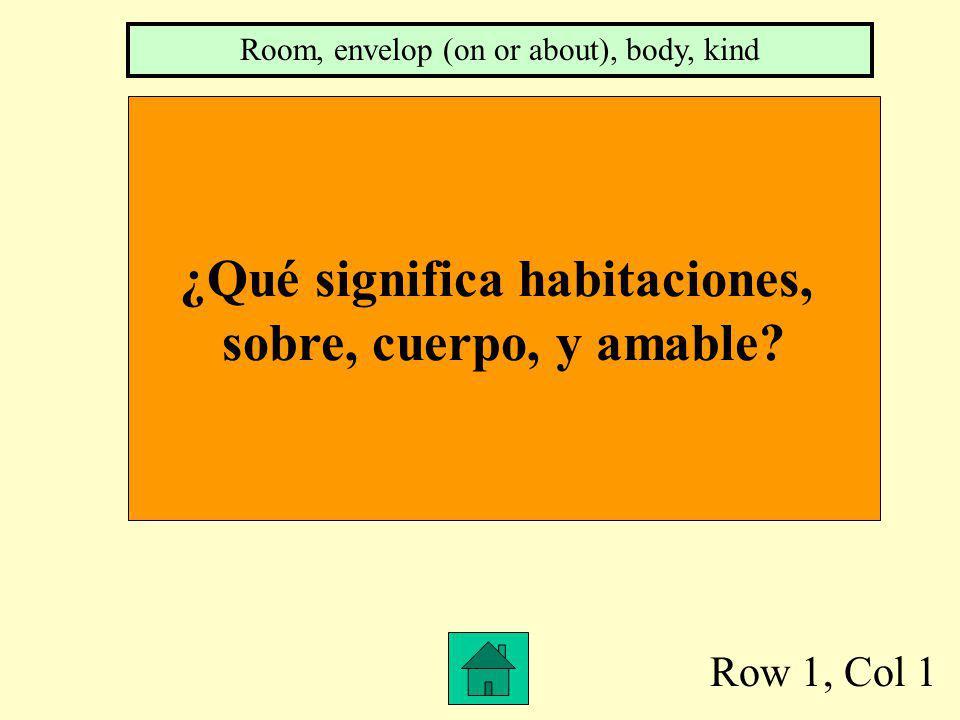 Row 1, Col 1 ¿Qué significa habitaciones, sobre, cuerpo, y amable.