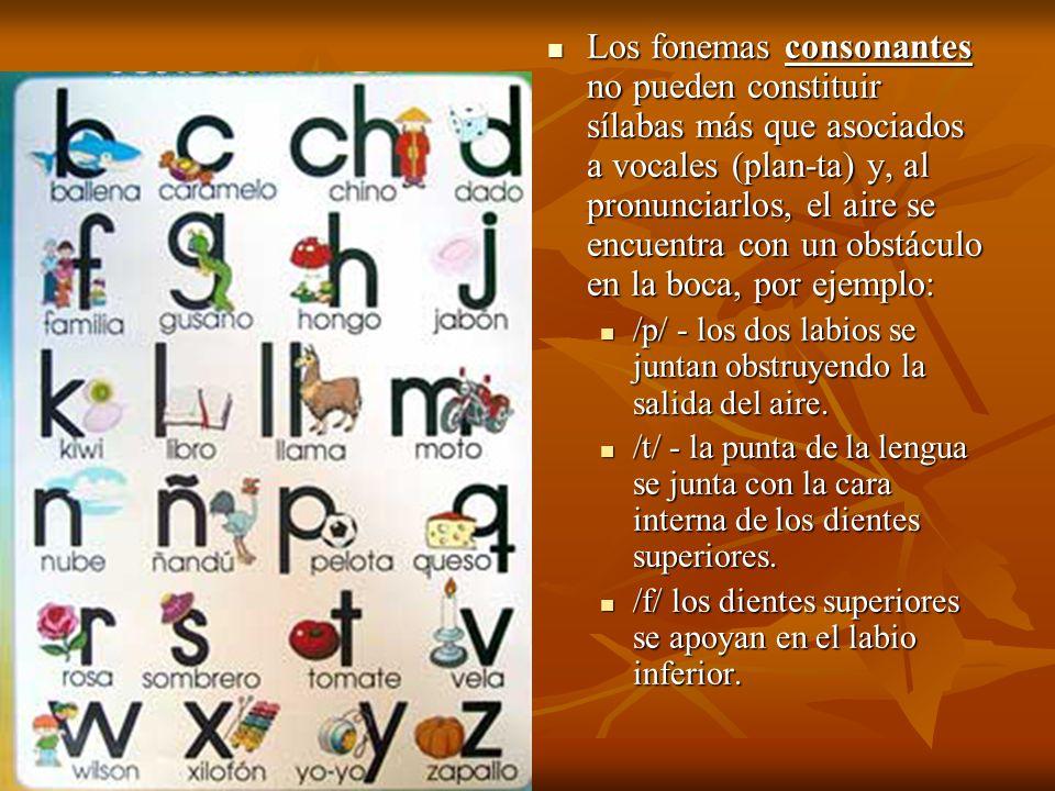 Los fonemas consonantes no pueden constituir sílabas más que asociados a vocales (plan-ta) y, al pronunciarlos, el aire se encuentra con un obstáculo