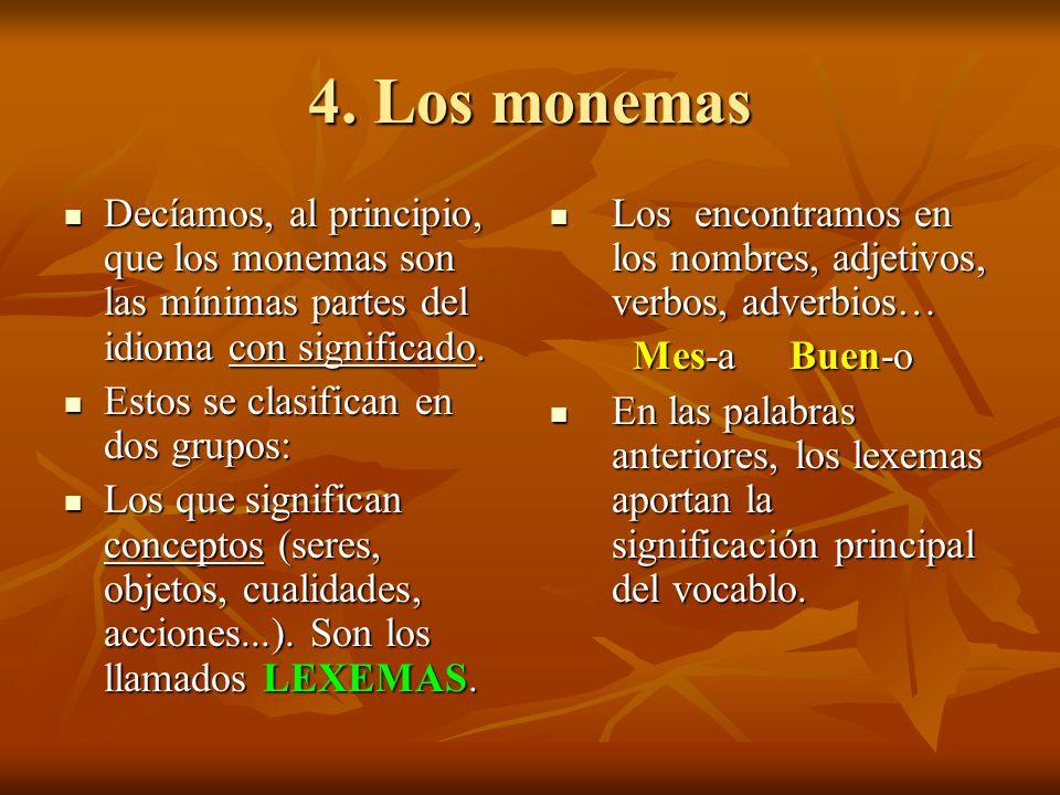 4. Los monemas Decíamos, al principio, que los monemas son las mínimas partes del idioma con significado. Decíamos, al principio, que los monemas son