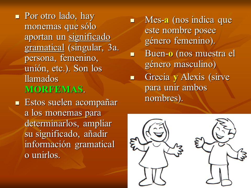 Por otro lado, hay monemas que sólo aportan un significado gramatical (singular, 3a. persona, femenino, unión, etc.). Son los llamados MORFEMAS. Por o