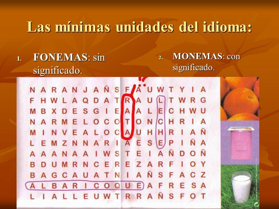 Las mínimas unidades del idioma: 1. FONEMAS: sin significado. 2. MONEMAS: con significado.