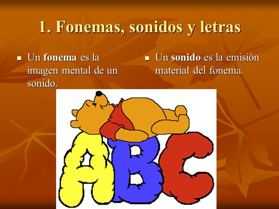 1. Fonemas, sonidos y letras Un fonema es la imagen mental de un sonido. Un fonema es la imagen mental de un sonido. Un sonido es la emisión material
