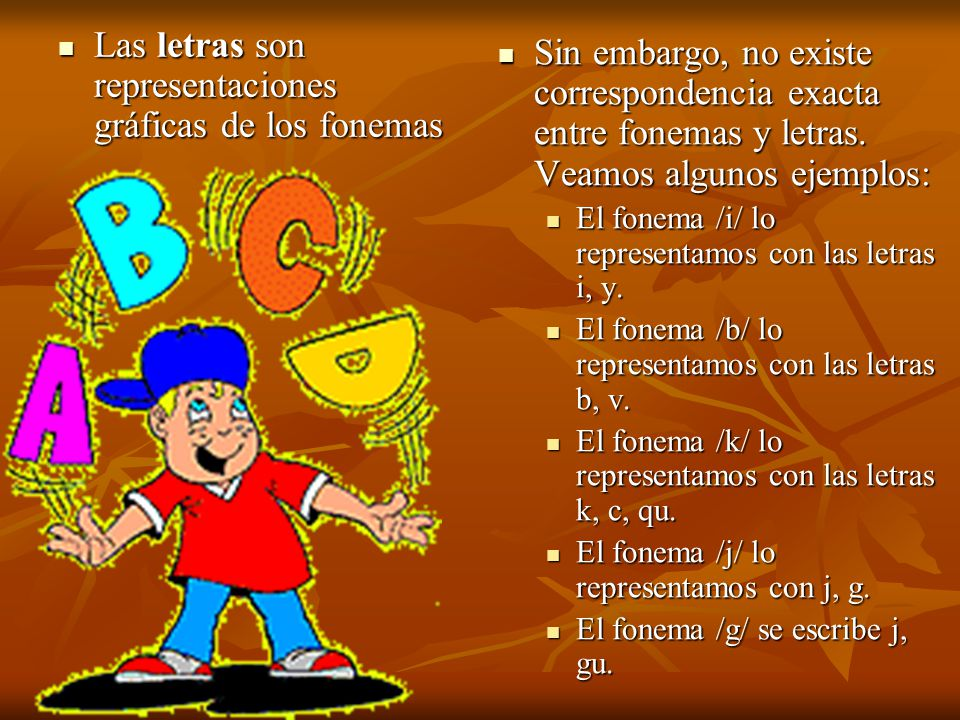 Las letras son representaciones gráficas de los fonemas Las letras son representaciones gráficas de los fonemas Sin embargo, no existe correspondencia