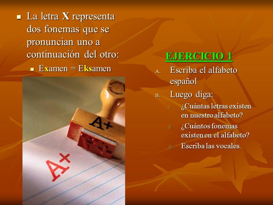 La letra X representa dos fonemas que se pronuncian uno a continuación del otro: La letra X representa dos fonemas que se pronuncian uno a continuació