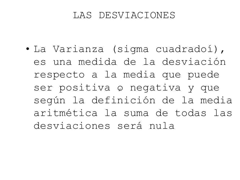 LAS DESVIACIONES La Varianza (sigma cuadradoí), es una medida de la desviación respecto a la media que puede ser positiva o negativa y que según la de