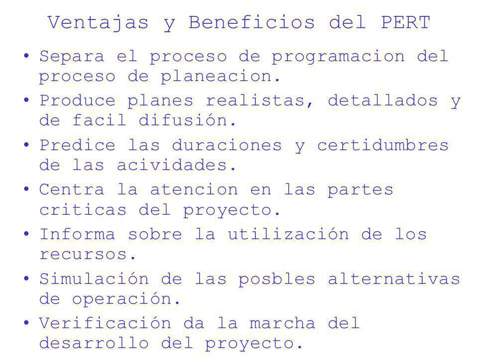 Ventajas y Beneficios del PERT Separa el proceso de programacion del proceso de planeacion. Produce planes realistas, detallados y de facil difusión.