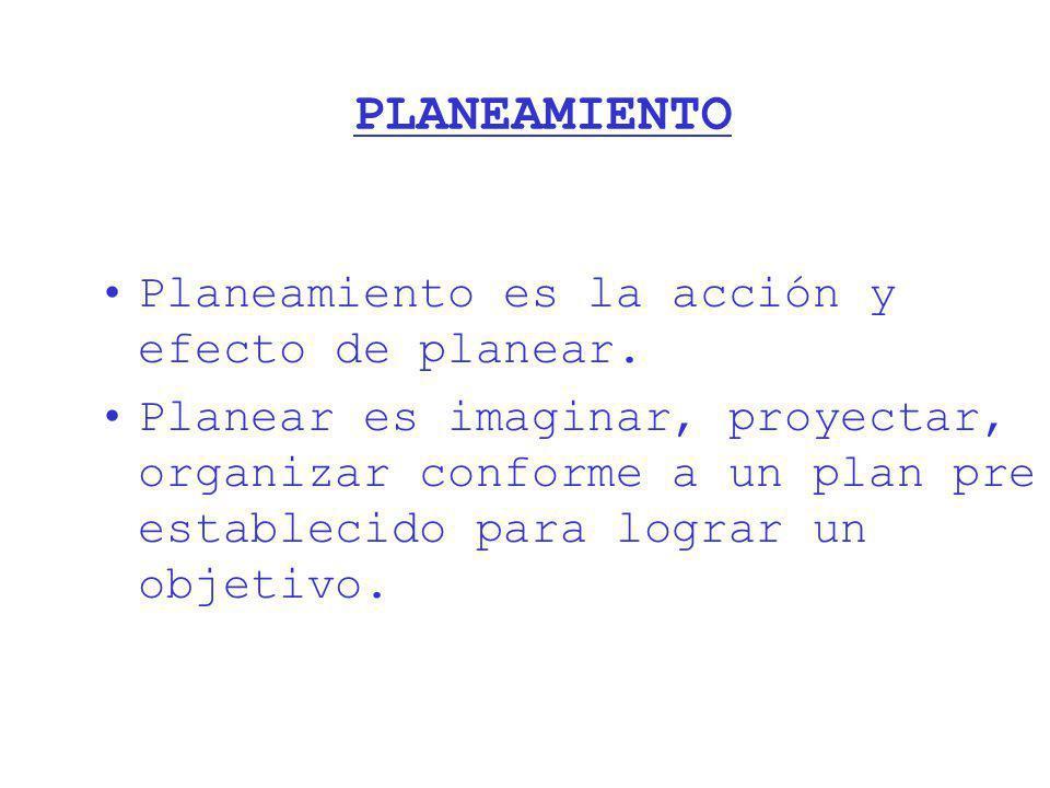 PLANEAMIENTO Planeamiento es la acción y efecto de planear. Planear es imaginar, proyectar, organizar conforme a un plan pre establecido para lograr u