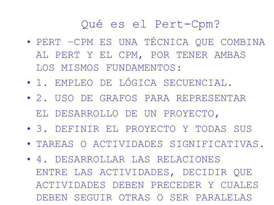 Qué es el Pert-Cpm? PERT –CPM ES UNA TÉCNICA QUE COMBINA AL PERT Y EL CPM, POR TENER AMBAS LOS MISMOS FUNDAMENTOS: 1. EMPLEO DE LÓGICA SECUENCIAL. 2.
