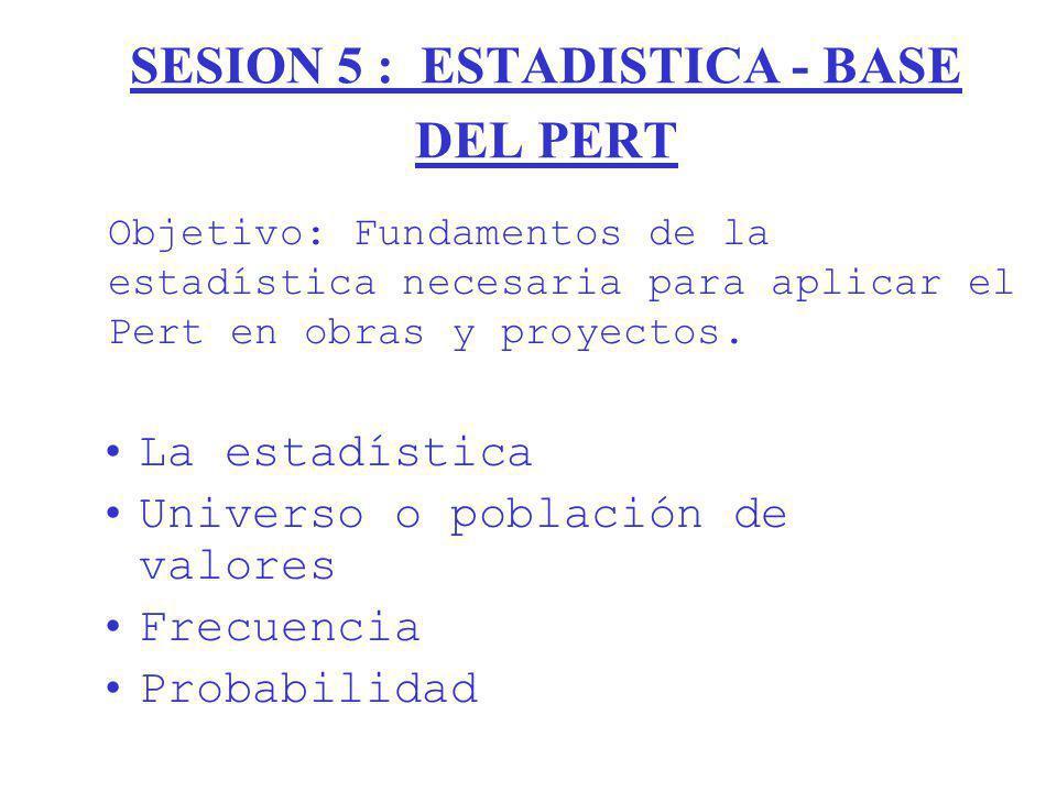 SESION 5 : ESTADISTICA - BASE DEL PERT La estadística Universo o población de valores Frecuencia Probabilidad Objetivo: Fundamentos de la estadística