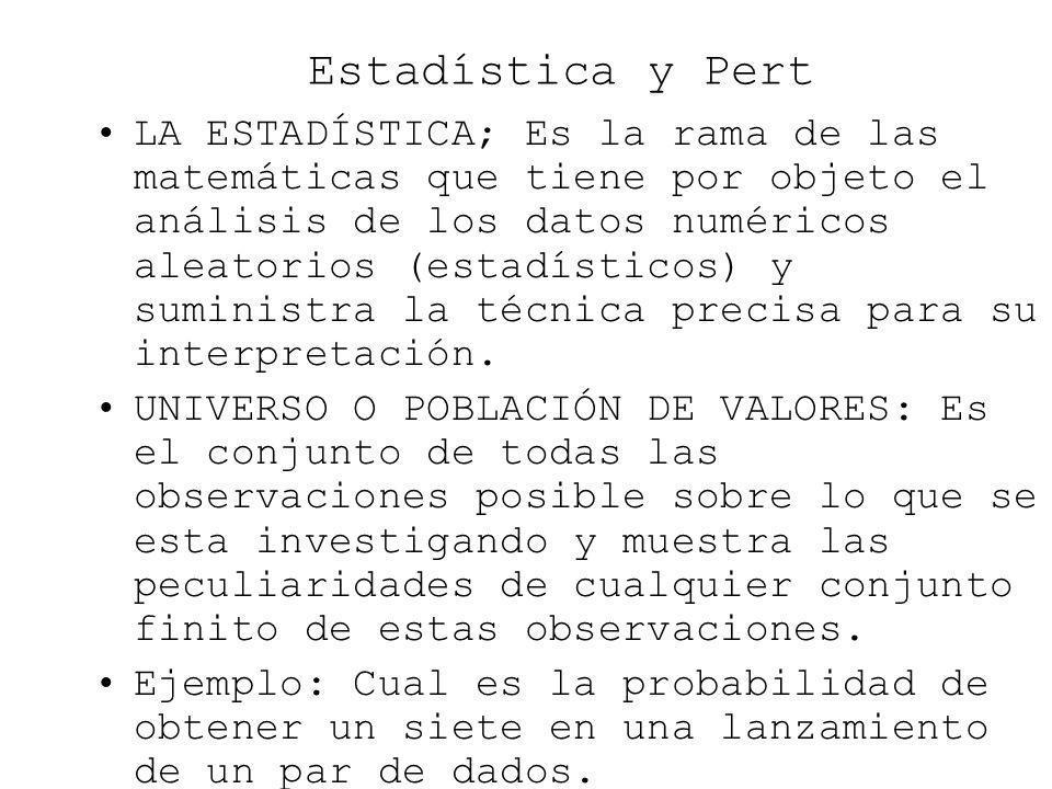 Estadística y Pert LA ESTADÍSTICA; Es la rama de las matemáticas que tiene por objeto el análisis de los datos numéricos aleatorios (estadísticos) y s