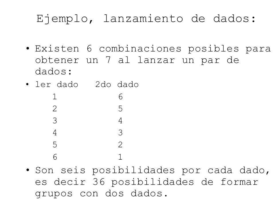 Ejemplo, lanzamiento de dados: Existen 6 combinaciones posibles para obtener un 7 al lanzar un par de dados: ler dado 2do dado 1 6 2 5 3 4 4 3 5 2 6 1
