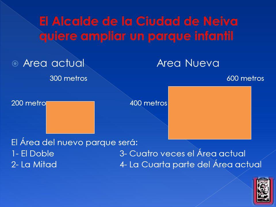 Area actual Area Nueva 300 metros 600 metros 200 metros 400 metros El Área del nuevo parque será: 1- El Doble3- Cuatro veces el Área actual 2- La Mita