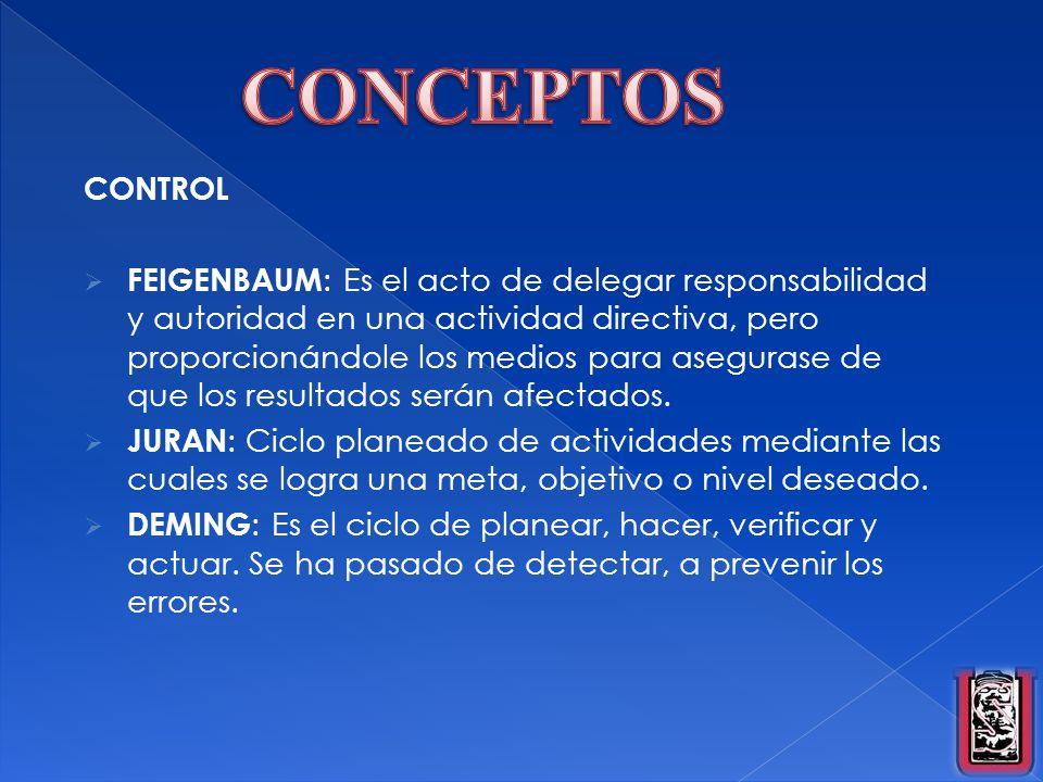 CONTROL FEIGENBAUM : Es el acto de delegar responsabilidad y autoridad en una actividad directiva, pero proporcionándole los medios para asegurase de
