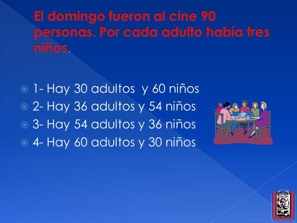 1- Hay 30 adultos y 60 niños 2- Hay 36 adultos y 54 niños 3- Hay 54 adultos y 36 niños 4- Hay 60 adultos y 30 niños