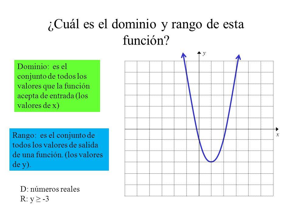 ¿Cuál es el dominio y rango de esta función? Dominio: es el conjunto de todos los valores que la función acepta de entrada (los valores de x) Rango: e