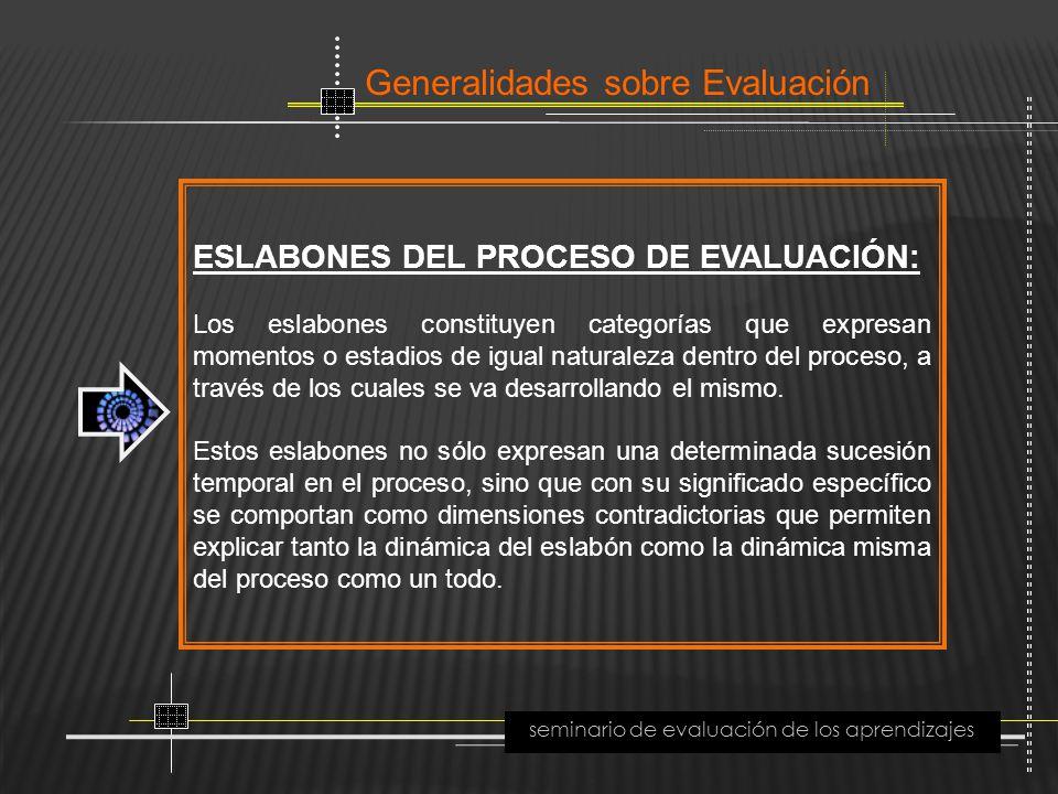 Generalidades sobre Evaluación seminario de evaluación de los aprendizajes ESLABONES DEL PROCESO DE EVALUACIÓN: Los eslabones constituyen categorías q