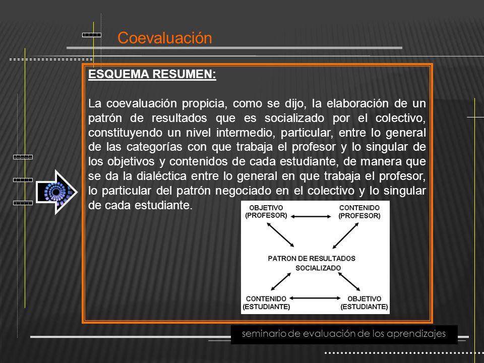 Coevaluación seminario de evaluación de los aprendizajes ESQUEMA RESUMEN: La coevaluación propicia, como se dijo, la elaboración de un patrón de resul