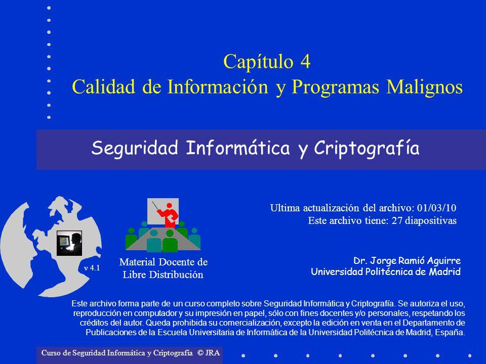 Seguridad Informática y Criptografía Material Docente de Libre Distribución Ultima actualización del archivo: 01/03/10 Este archivo tiene: 27 diaposit