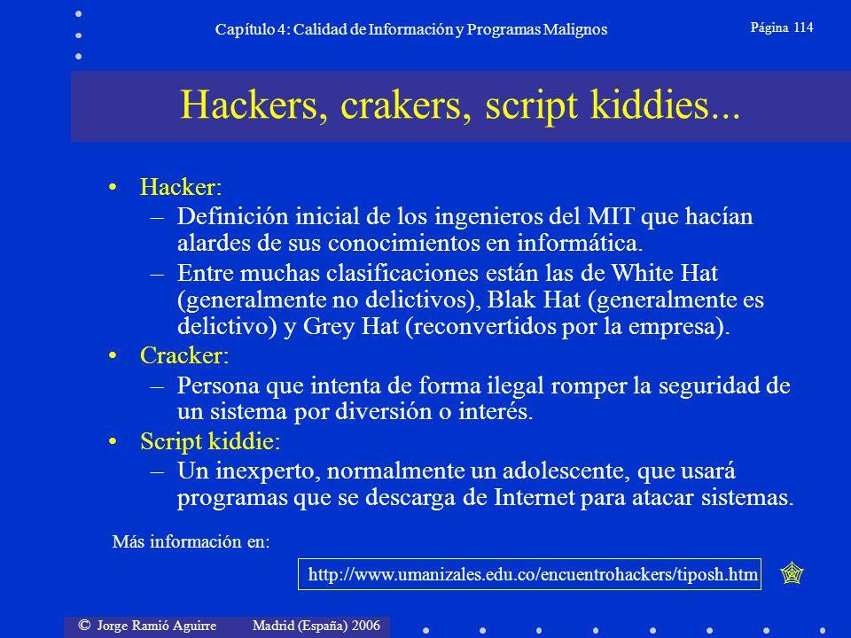 © Jorge Ramió Aguirre Madrid (España) 2006 Página 114 Capítulo 4: Calidad de Información y Programas Malignos Hacker: –Definición inicial de los ingen