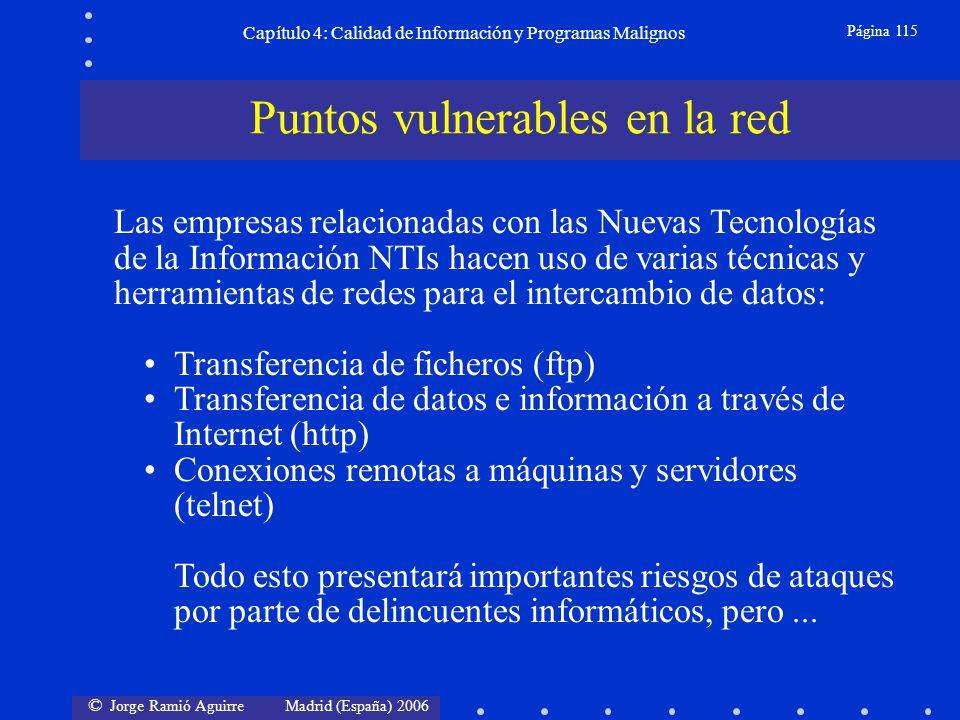 © Jorge Ramió Aguirre Madrid (España) 2006 Página 115 Capítulo 4: Calidad de Información y Programas Malignos Las empresas relacionadas con las Nuevas