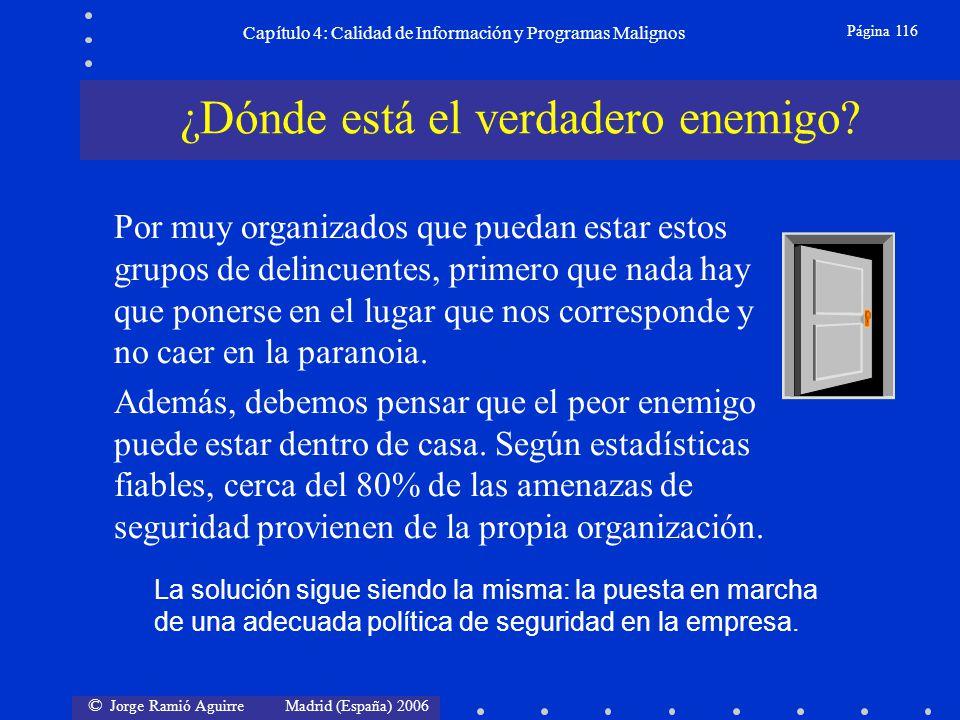 © Jorge Ramió Aguirre Madrid (España) 2006 Página 116 Capítulo 4: Calidad de Información y Programas Malignos Por muy organizados que puedan estar est