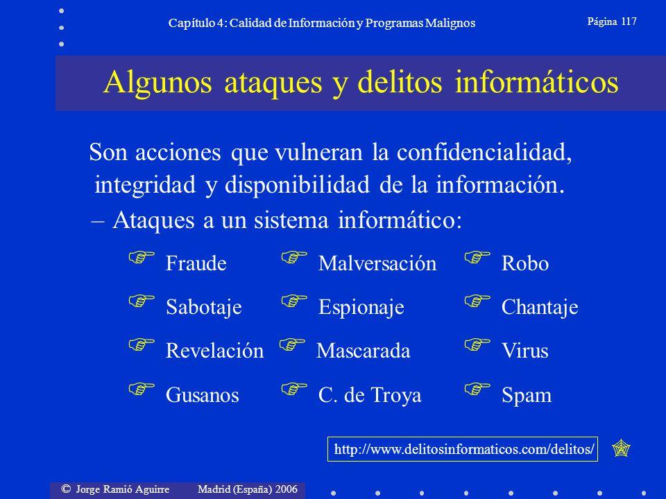 © Jorge Ramió Aguirre Madrid (España) 2006 Página 117 Capítulo 4: Calidad de Información y Programas Malignos Son acciones que vulneran la confidencia