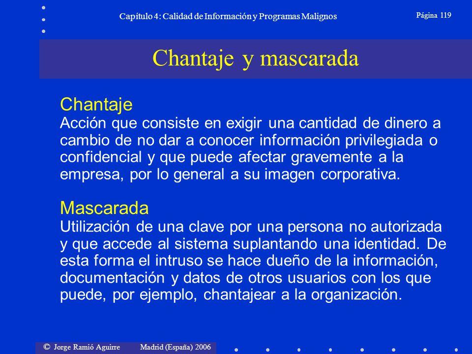 © Jorge Ramió Aguirre Madrid (España) 2006 Página 119 Capítulo 4: Calidad de Información y Programas Malignos Chantaje Acción que consiste en exigir u