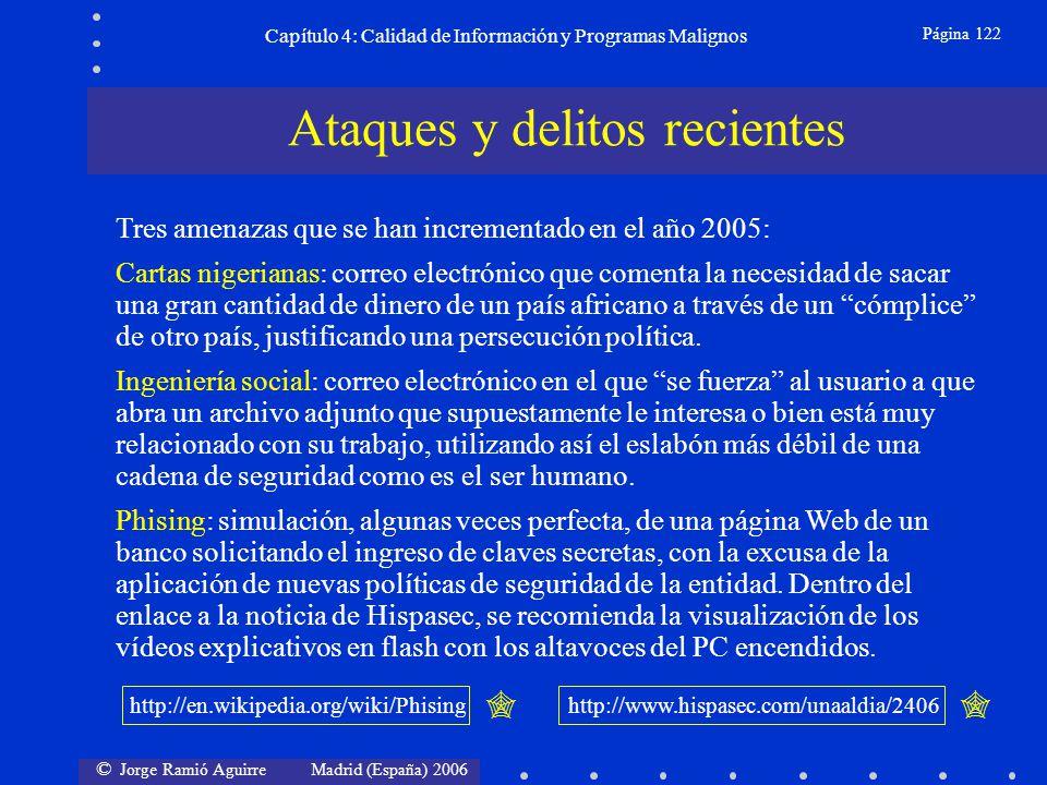 © Jorge Ramió Aguirre Madrid (España) 2006 Página 122 Capítulo 4: Calidad de Información y Programas Malignos Ataques y delitos recientes Tres amenaza