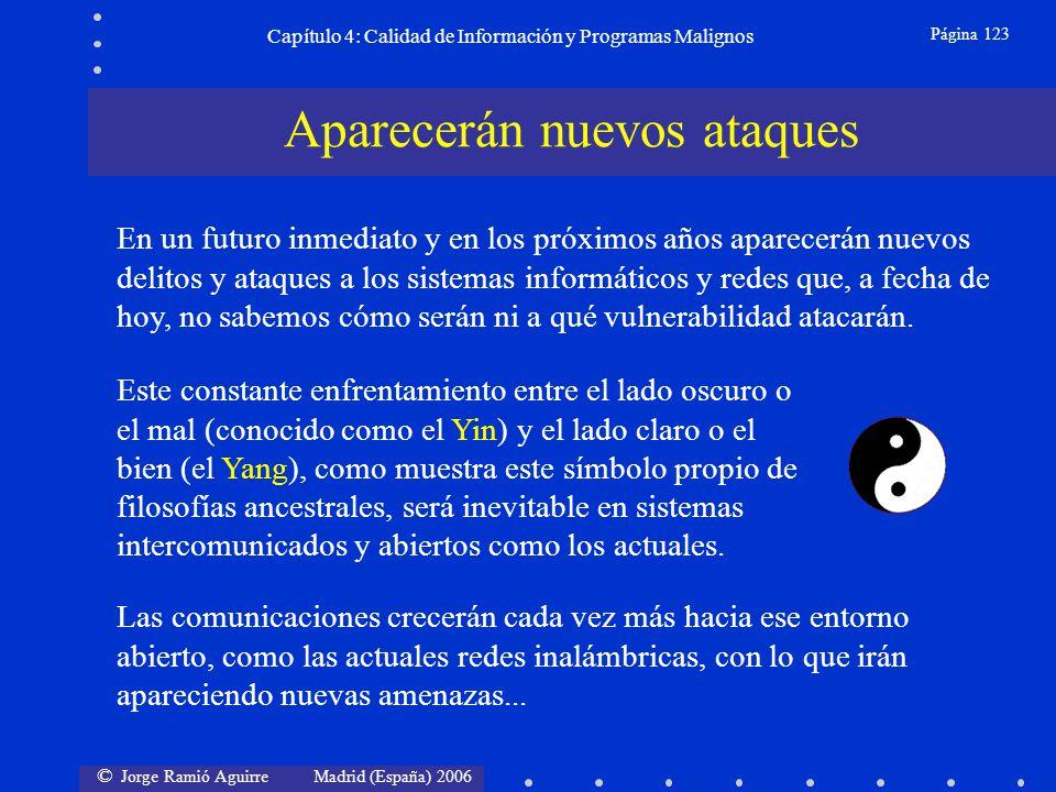 © Jorge Ramió Aguirre Madrid (España) 2006 Página 123 Capítulo 4: Calidad de Información y Programas Malignos Aparecerán nuevos ataques Las comunicaci