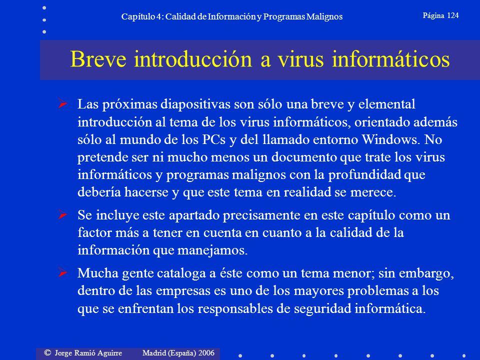 © Jorge Ramió Aguirre Madrid (España) 2006 Página 124 Capítulo 4: Calidad de Información y Programas Malignos Las próximas diapositivas son sólo una b
