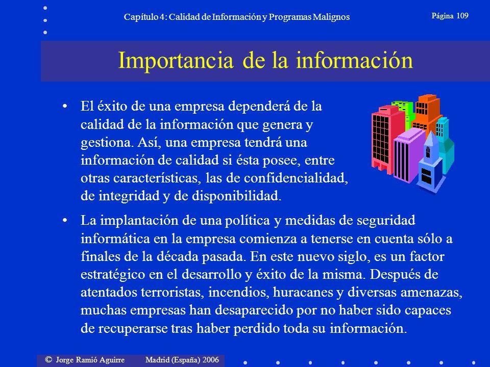 © Jorge Ramió Aguirre Madrid (España) 2006 Página 109 Capítulo 4: Calidad de Información y Programas Malignos La implantación de una política y medida