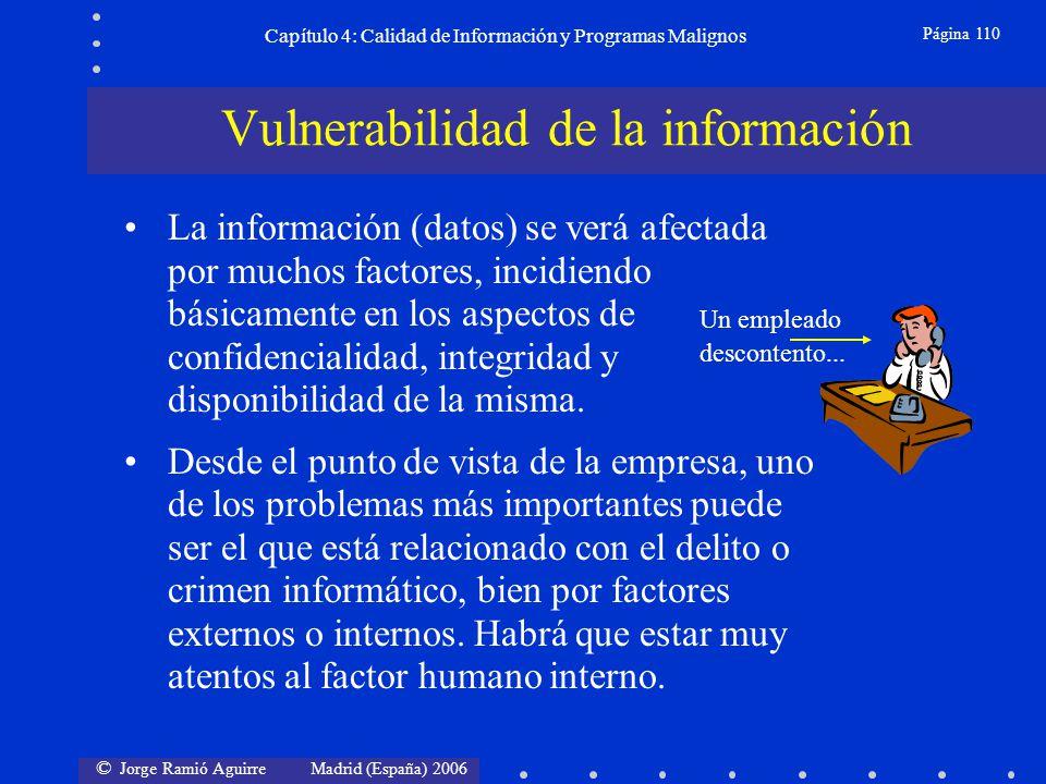 © Jorge Ramió Aguirre Madrid (España) 2006 Página 110 Capítulo 4: Calidad de Información y Programas Malignos La información (datos) se verá afectada
