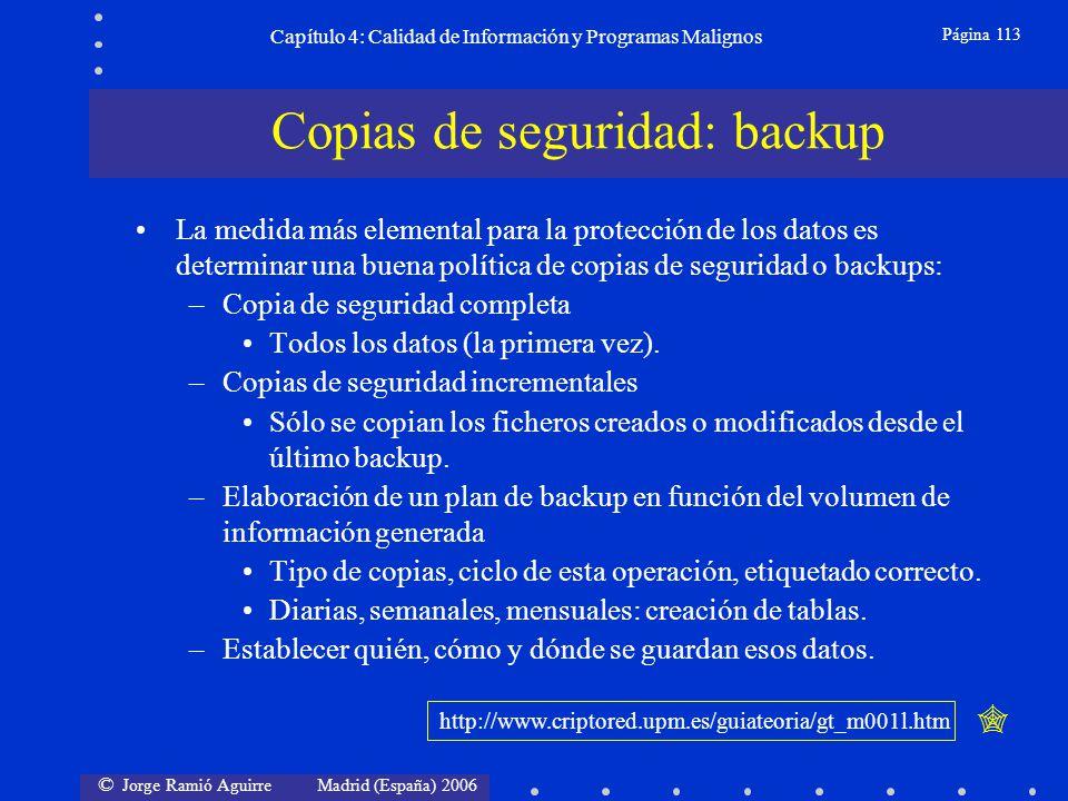 © Jorge Ramió Aguirre Madrid (España) 2006 Página 113 Capítulo 4: Calidad de Información y Programas Malignos La medida más elemental para la protecci