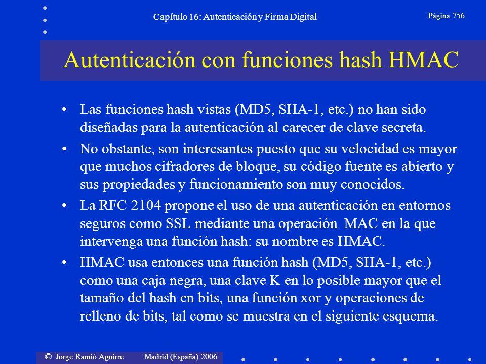 © Jorge Ramió Aguirre Madrid (España) 2006 Capítulo 16: Autenticación y Firma Digital Página 756 Las funciones hash vistas (MD5, SHA-1, etc.) no han s