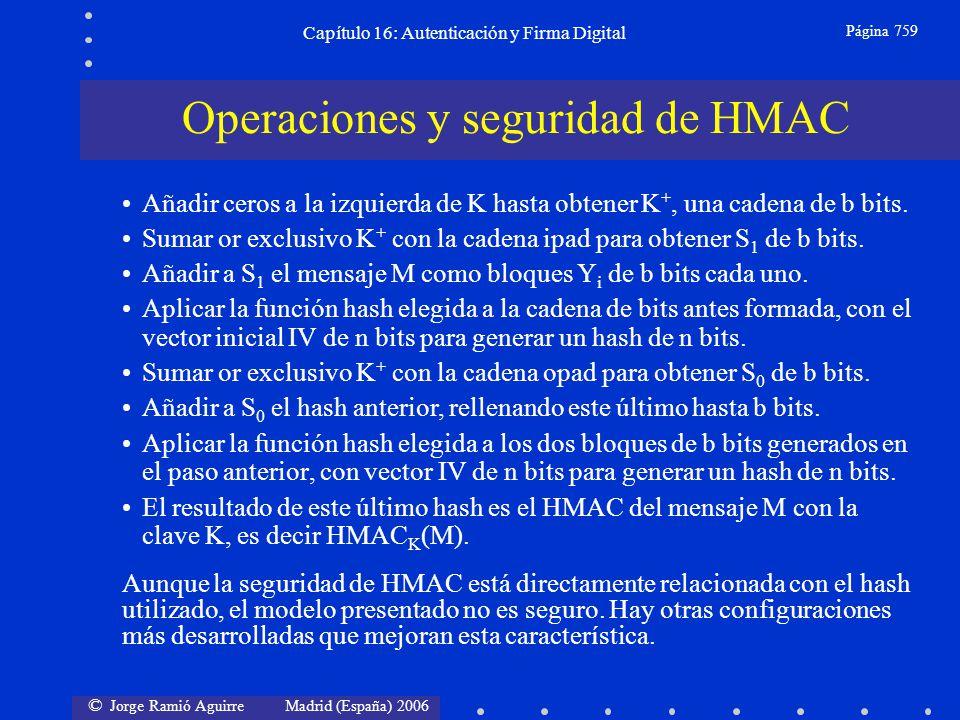 © Jorge Ramió Aguirre Madrid (España) 2006 Capítulo 16: Autenticación y Firma Digital Página 759 Añadir ceros a la izquierda de K hasta obtener K +, u