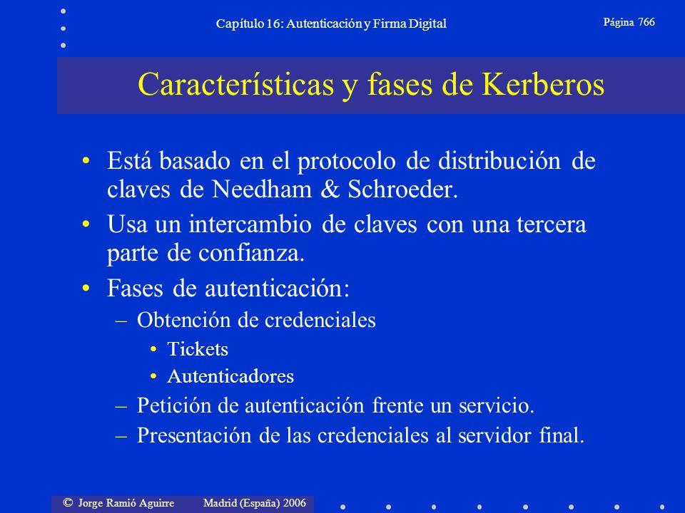 © Jorge Ramió Aguirre Madrid (España) 2006 Capítulo 16: Autenticación y Firma Digital Página 766 Está basado en el protocolo de distribución de claves
