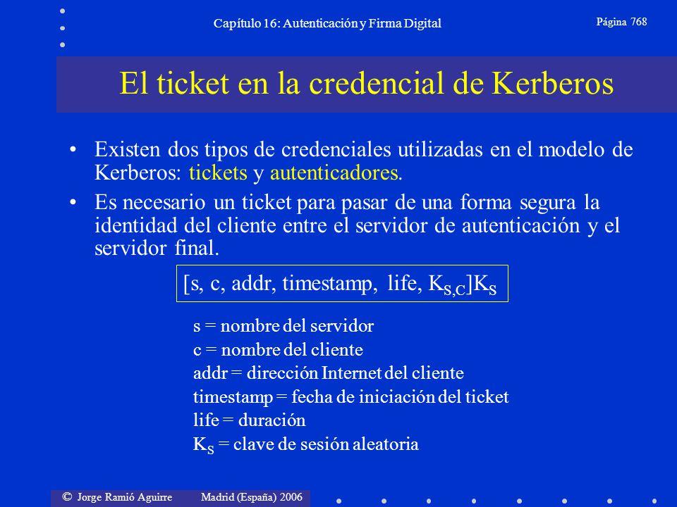 © Jorge Ramió Aguirre Madrid (España) 2006 Capítulo 16: Autenticación y Firma Digital Página 768 Existen dos tipos de credenciales utilizadas en el mo