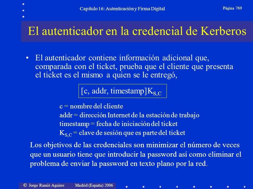 © Jorge Ramió Aguirre Madrid (España) 2006 Capítulo 16: Autenticación y Firma Digital Página 769 El autenticador en la credencial de Kerberos El auten