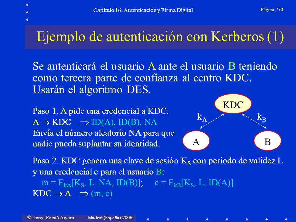 © Jorge Ramió Aguirre Madrid (España) 2006 Capítulo 16: Autenticación y Firma Digital Página 770 Ejemplo de autenticación con Kerberos (1) Se autentic