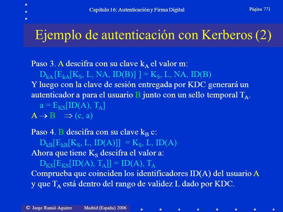 © Jorge Ramió Aguirre Madrid (España) 2006 Capítulo 16: Autenticación y Firma Digital Página 771 Ejemplo de autenticación con Kerberos (2) Paso 3. A d